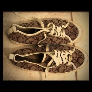 Brown GUESS canvas sneakers size 10